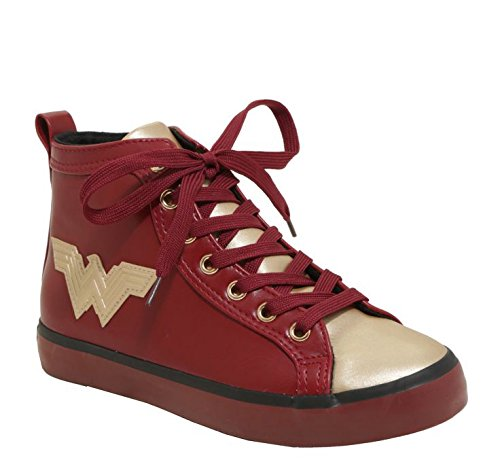 DC Comics Ladies Wonder Women HIGH TOP Sneaker, Maroon, 5 M US