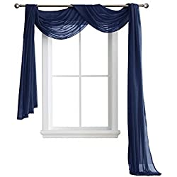 "LinenZone Karina - Semi-Sheer Window Scarf (54 x 216) - Elegant Home Decor Window Treatments - Add to Window Curtains for Enhanced Effect (1 Scarf 54"" x 216"", Navy)"