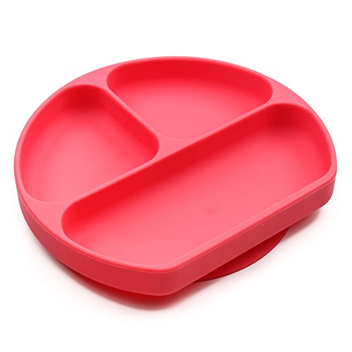Bumkins Silicone Grip Dish, Red Toddler Dish