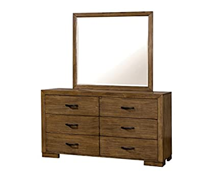 HOMES: Inside + Out ioHOMES Redik Transitional Dresser and Mirror Set, Reclaimed Pine Wood