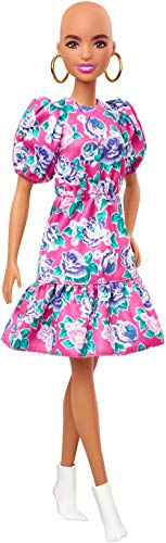 Barbie Fashionistas Doll #150 with No-Hair Look Wearing Pink Floral Dress, White Booties & Earrings, Toy for Kids 3 to 8 Years Old