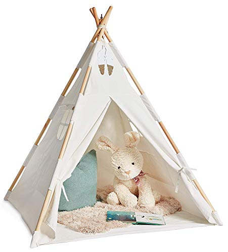 XISXI Outdoor & Indoor Teepee Tent for Kids & Adult | Nap Read 100% Cotton Canvas Play House with Bag and Mat, Extra Stable