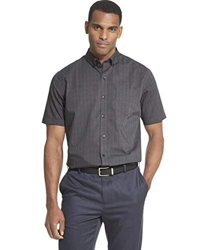 Van Heusen Men's Flex Short Sleeve Button Down Check Shirt, Black, - Button Fused Collar Down