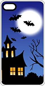 Haunted House With Bats Tree & Full Moon Clear Plastic Case for Apple iPhone 4 or iPhone 4s