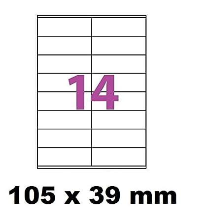 100 A4 hoja 14 etiqueta de papel etiqueta adhesiva 105 x 39 mm ...