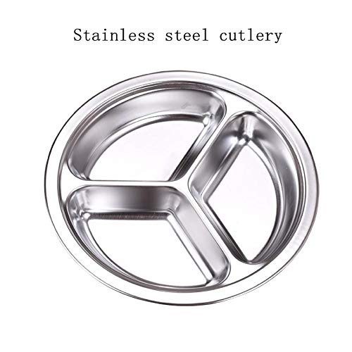 304 thick stainless steel snack plate Grid plate Children's kindergarten Student adult canteen Snack plate Grid plate Reusable 21 cm in diameter 3 plates in one package