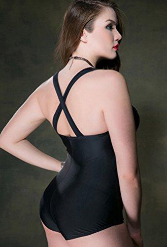 NiSeng Mujeres Señora Color Sólido Backless Bikini Traje De Baño Monokini Ropa De Playa Ropa De Baño Bañadores Negro