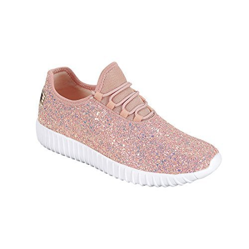 Forever FM74 Women's Lace Up Glitter White Sole Street Sneakers, Color Dusty Rose, Size:8.5