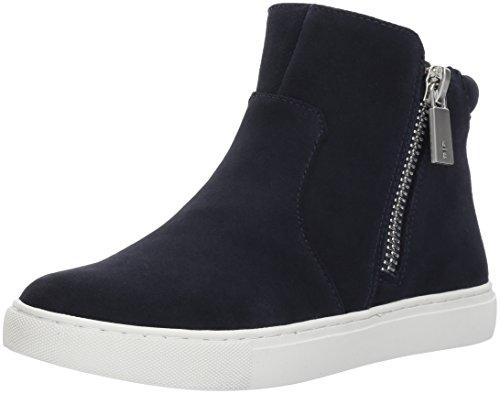 Suede Zip (Kenneth Cole New York Women's Kiera High Top Sneaker Double Zip Suede Fashion, Navy, 5 M US)