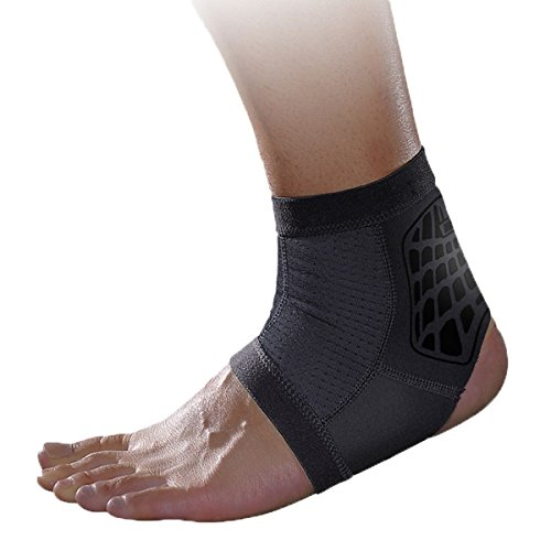 Panegy Compression Ankle Support Sleeve Reduce Muscle Fatigu Soft and Breathable Foot Brace for Running Badminton Grey