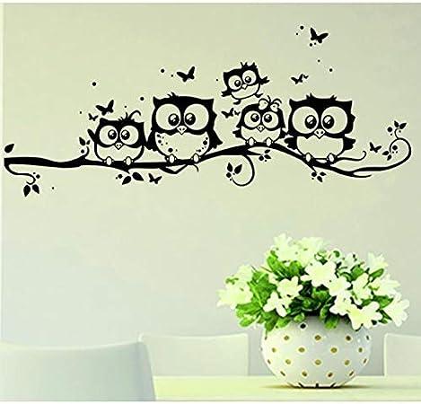 Pegatinas de pared con diseño de búho y mariposa, 5 adhesivos decorativos modernos para el hogar, 55 x 25 cm, apto para dormitorio, sala de estar, oficina, habitación de los niños, habitación de bebé