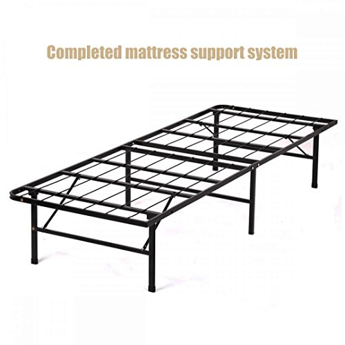 New Modern Bi-fold Folding Platform Metal Base Frame Completed Mattress Support System Foundation Lightweight Super Strong Base - Twin Size #1175t
