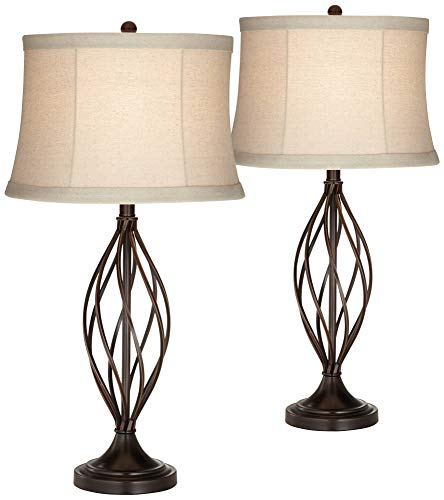 Liam Traditional Table Lamps Set of 2 Iron Bronze Twist Tan Bell Drum Shade for Living Room Family Bedroom Bedside - Franklin Iron Works