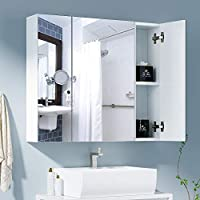 "HOMFA Bathroom Wall Mirror Cabinet 27.6"" Wide, Over The Toilet Space Saver Storage Cabinet Medicine Cabinet Kitchen Cupboard with 3 Mirror Door, White"
