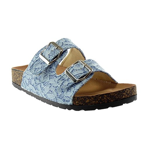 Verschluss 5 Ohne Keil Schnalle Blau 2 Damenmode Sandalen Schuhe Bestickt Pantoletten Angkorly Glänzender cm wIRXqBP6xW