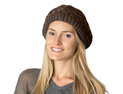 AN - Fall Winter Knit Beanie Beret Hat for Women Soft Lining - Many Styles (Brown Basket Weave)
