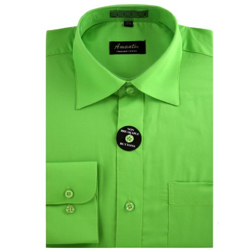 Amanti Apple Green Colored Men's Dress Shirt Long Sleeve Classic 18.5-36/37 Classic Apple Green
