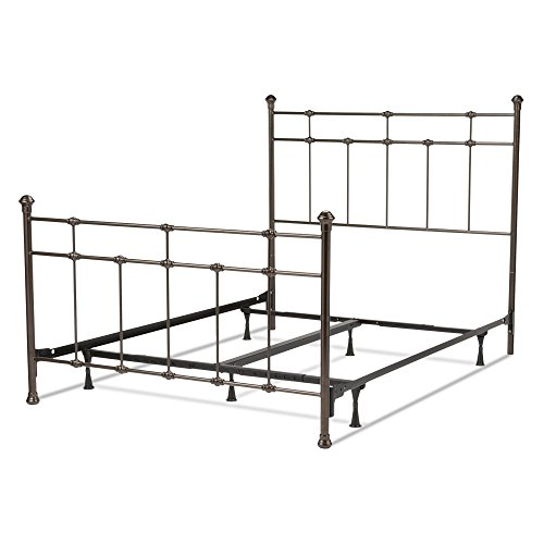dexter complete bed with decorative metal castings and globe finials hammered brown twin - Twin Iron Bed Frame