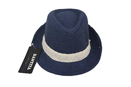 Dantiya Little Boys' Kids Linen Straw Band Fedoras Hat Caps Blue -