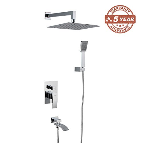 GAPPO Luxury Rain Shower System Kit with Handheld Shower and Tub Spout Tap Polished Chrome