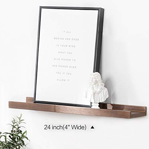 INMAN Floating Shelves Display Wooden Wall Mount Ledge Shelf Picture Record/Album Photo Ledge Small Hanging Kids Wall Bookshelf for Bedroom Kitchen Office Home Décor (Walnut, 24