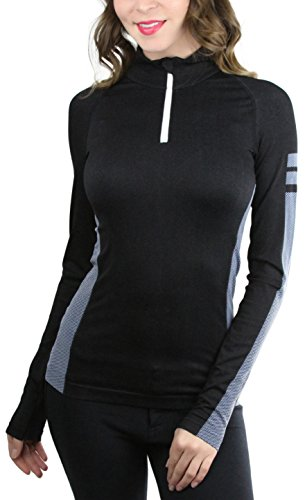 ToBeInStyle Women's Seamless L.S. 1/4 Zip Collar Active Pullover - Black- Large ()