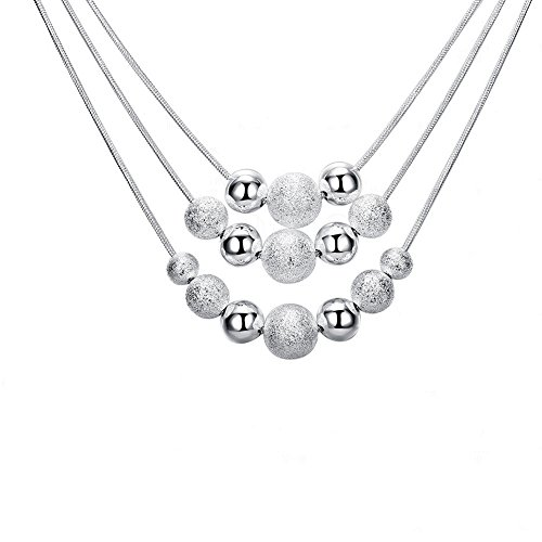 KOREA-JIAEN Multilayer Bead Necklace S925 Silver Plated Frosted and Smooth Ball Pendant Necklace