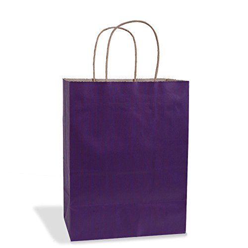 Purple Gift Bags 8x4.75x10.5'' 100Pcs BagDream Shopping Bags,Cub, Paper Bags, Kraft Bags, Retail Bags, Paper Bags with Handles, Craft Bags, 100% Recyclable Paper (Purple) by BagDream