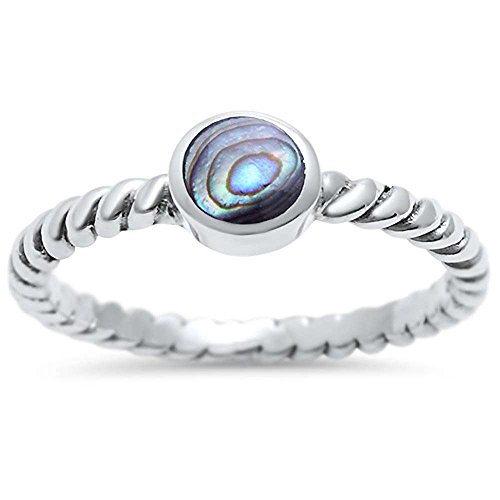 Sterling Silver Bezel Abalone Shell Braided Ring Sizes 4 (Bezel 4 Prong)