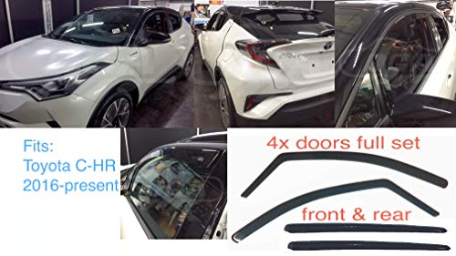 AC WOW 4x Front Rear compatible with Toyota C-HR 2016-present Wind Deflectors Dark Smoke Tinted Acrylic Glass Door Side Windows Interior In-Channel Visors Rain Snow Sun Guards