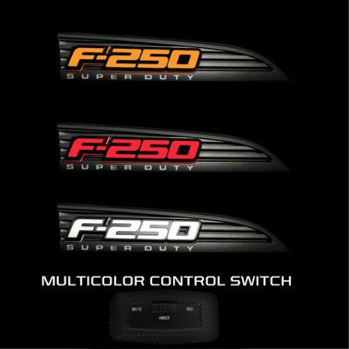2011-2016 F250 SuperDuty Black Light Up Fender Emblems - Red White or Amber