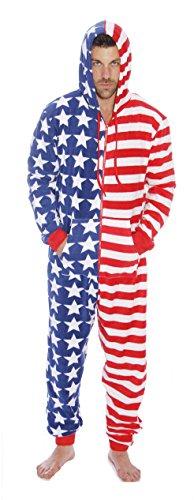 #followme M6423-NEW-L American Flag Adult Onesie Pajamas