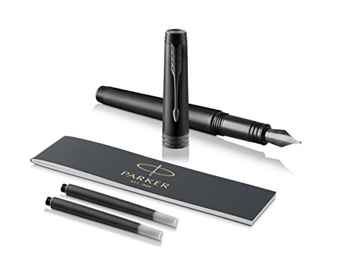 PARKER Premier Fountain Pen, Monochrome Black, Medium Nib with Black Ink Refill by Parker