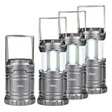 i-Star LED Camping Lights COB Technology Pack Of 4 - Portable Tough Lanterns- Collapsible Battery Powered Emergency Light for Tents, Sheds, DIY, Camping or Walk