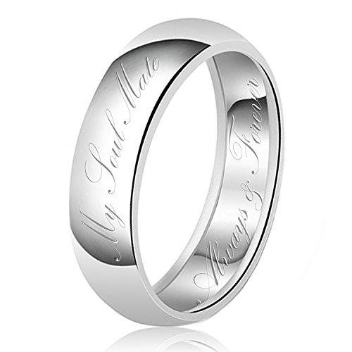 - 8mm My Soul Mate Always & Forever Engraved Classic Sterling Silver Plain Wedding Band Ring, Size 10.5