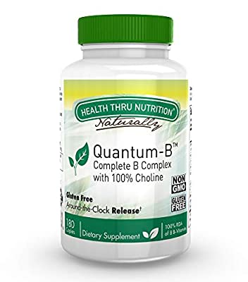 Quantum-B™ Complete B-Complex High Potency with 550mg Choline, B1, B2, B3, B6, Folate, B12, Biotin, B5 - Sustained Release, Non GMO by Health Thru Nutrition …
