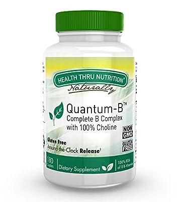 Quantum-B™ Complete B-Complex High Potency with 550mg Choline, B1, B2, B3, B6, Folate, B12, Biotin, B5 - Sustained Release, Non GMO by Health Thru Nutrition …