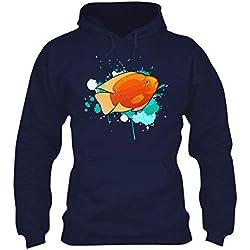 Mazoli Cichlid Fish Watercolor Unisex Hoodie, Hooded Sweatshirt Design Navy,L