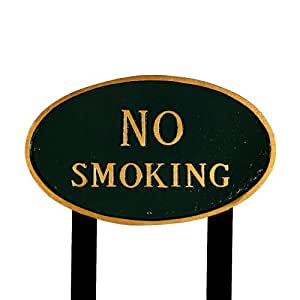 Montague Metal Products SP-6L-HGG-LS Large Hunter Green and Gold No Smoking Oval Statement Plaque with 2 23-Inch Lawn Stake