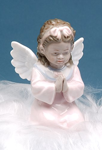 (Cosmos Gifts 1283 Fine Porcelain Inspirational African American Angel Girl Praying Mini Figurine, 3-1/2