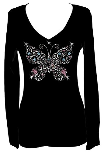 Rockeroo Boutique Butterfly Multi Rhinestone Womens V Neck Long Sleeve Tee Shirt (3X) -