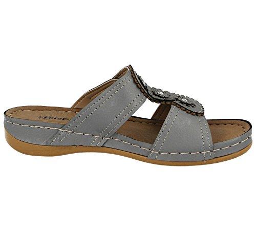 Mule Gezer 3 D'été Découpes Wedge Enfiler À Faible Cuir Sandales De Gris Chaussures Légère Femmes Simili 4qxwPCU