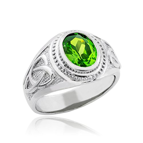 Bold 925 Sterling Silver Oval Green CZ Celtic Men's Ring (Bold Oval Ring)