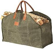 Sackliin Heavy Duty Waxed Canvas Log Carrier, Firewood Carrier Tote Bag, Wood Carrier for firewood, Close End