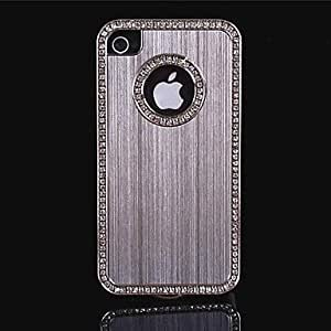 YXF Luxury Brushed Aluminum Bling Crystal Diamond Metal Hard Case for iPhone 4/4S (Assorted Colors) , Pink