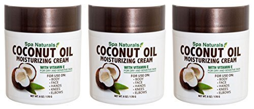 Lot of 3 Coconut Oil Cream 6 Oz/ea Coconut Oil Moisturizing Cream Vitamin E Dry Skin (Cream Vitamins Foot)