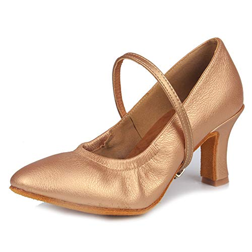 Ballroom it5003 Da Scarpe Marrone Ballo Leather Latino scarpe Standard Donna Swdzm 7cm Model Ballo qwzCPq