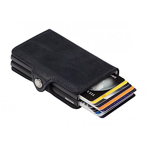 Secrid Twin Wallet Leather, Credit Card Wallet/With RFID Protection, With One Click All Cards Slide Out Gradually. Up To 18 Cards (Vintage Black)
