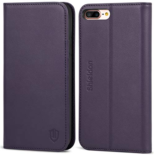 SHIELDON iPhone 8Plus Case, iPhone 7Plus Wallet Case, Genuine Leather iPhone 8 Plus Flip Magnetic Cover Card Slots Holder Kickstand TPU Shockproof Case Compatible with iPhone 7 Plus - Purple