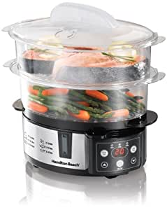 Hamilton Beach 37537 Digital Two-Tier Automatic Electric Countertop Food Steamer